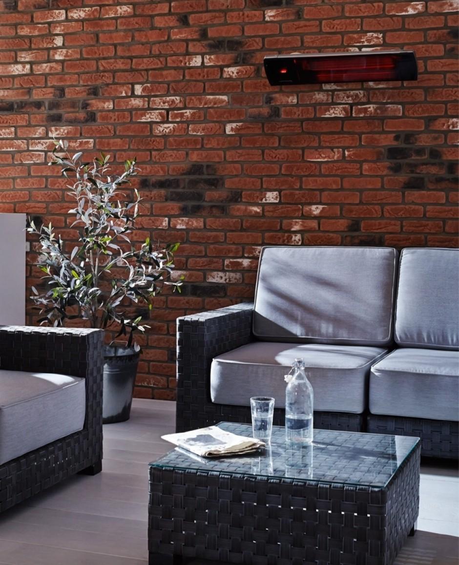 Vitroc ramique vision noir pour le salon du jardin avec for Chauffage infrarouge exterieur mural
